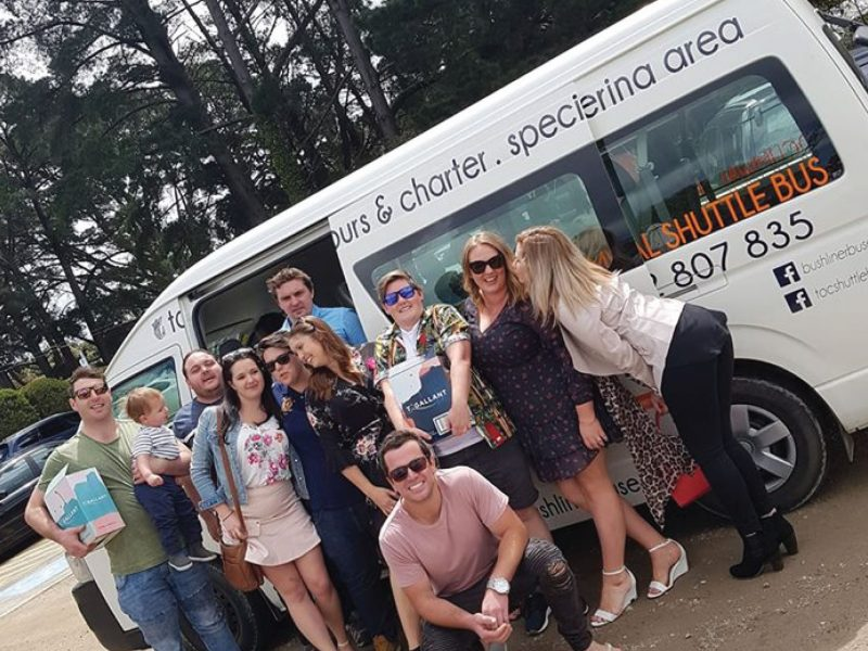 A group of friends donig a winery tour to celebrate a 30th birthday