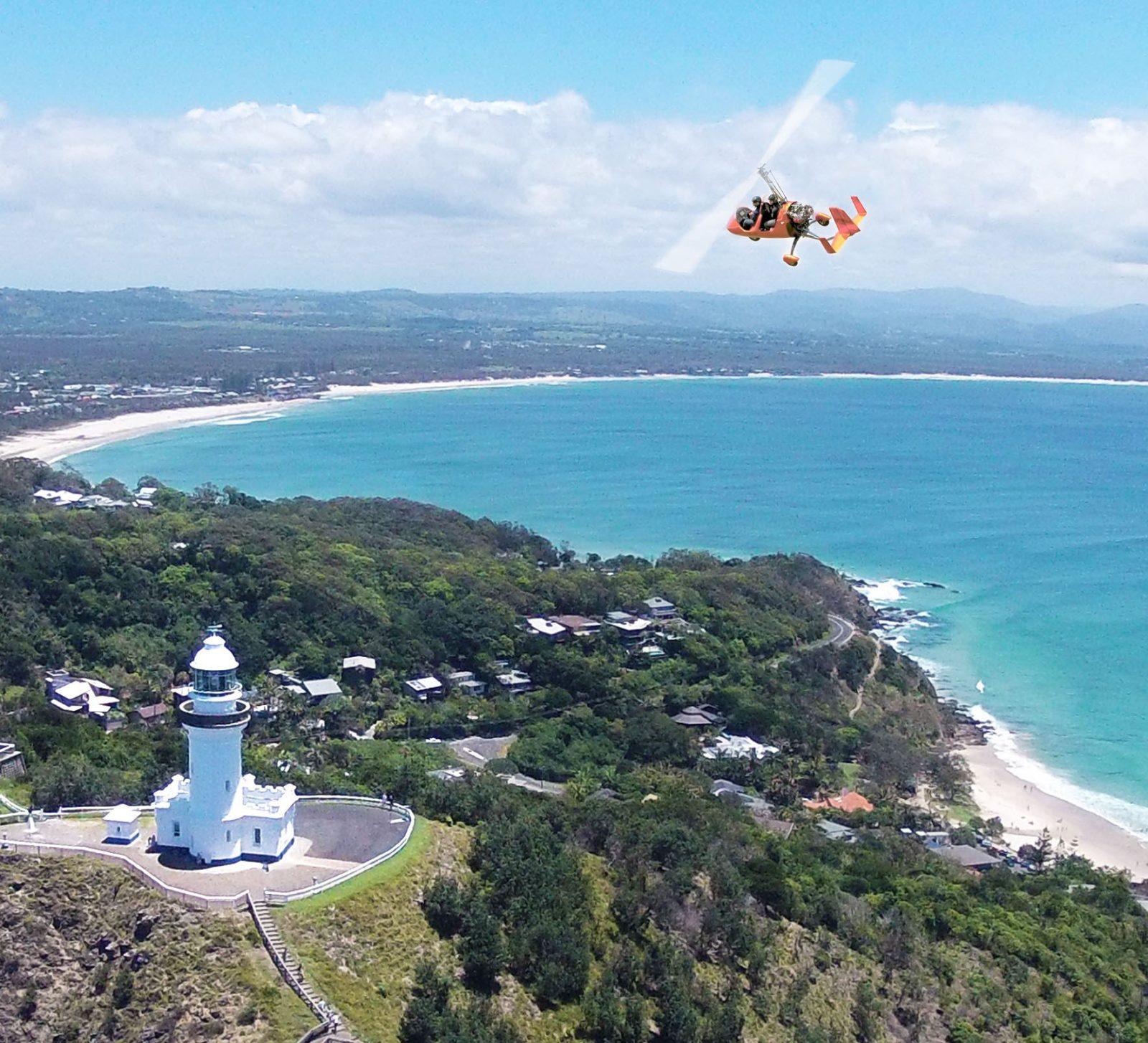 Flight around the lighthouse