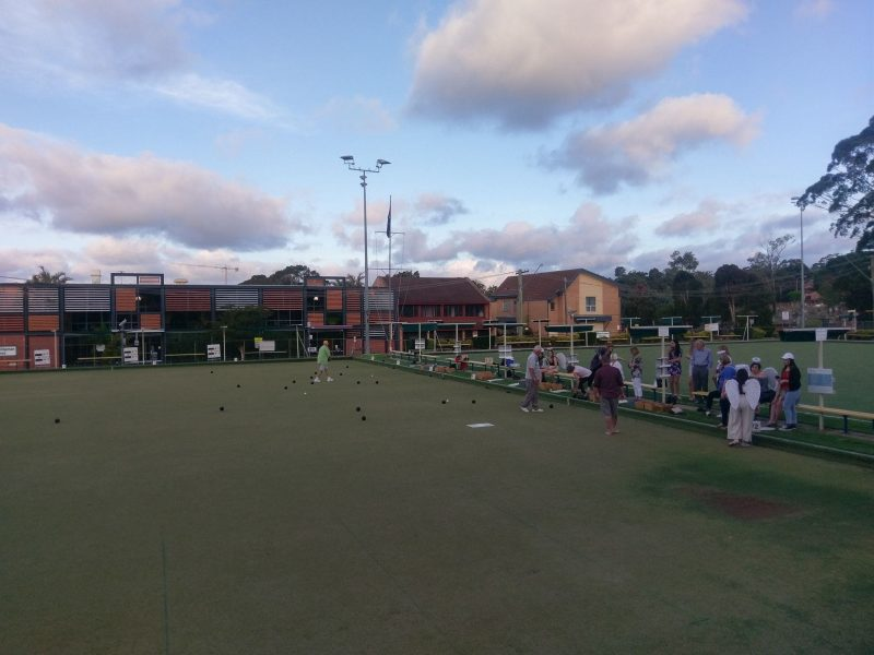 Group of people doing lawn bowling