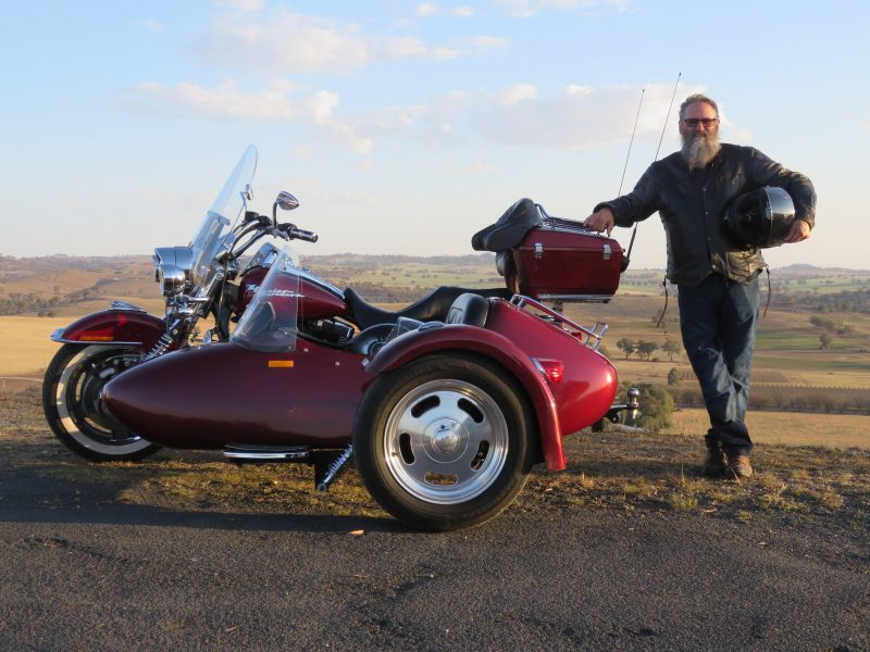 Captain Barnacles and his Harley Davidson Road King and Sidecar