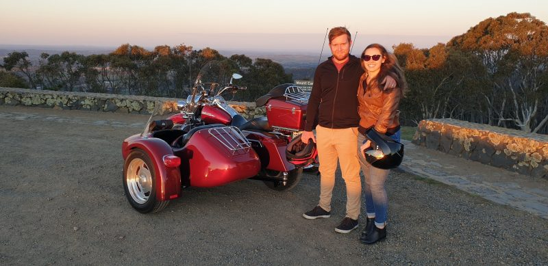 The Harley and sidecar on top of Mt Canobolas with an awesome young couple enjoying the experience