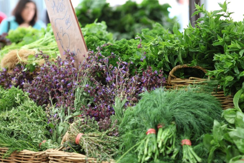 Fresh seasonal herbs and greens at Carriageworks Farmers Market