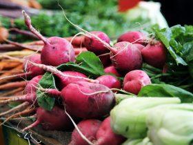Fresh carrots and beetroot at market