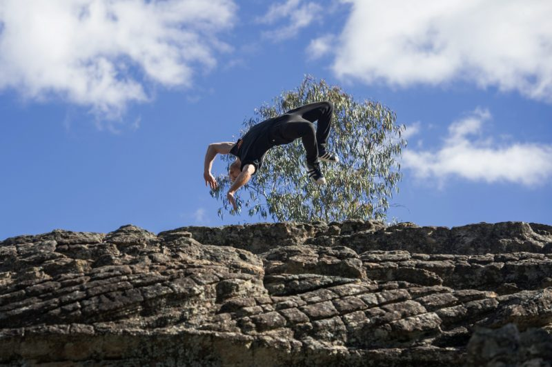 Parkour performance on the pagoda rock formations at Ganguddy in the Wollemi National Park