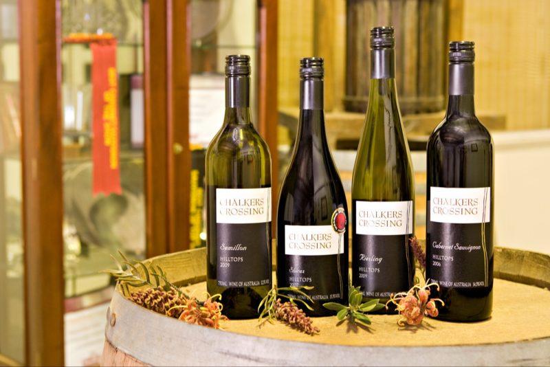 Chalkers Crossing wine bottles