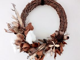 A Wreath of dried flowers and foliage