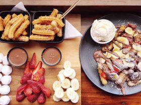 Fondue for two and messy churros - berry banana