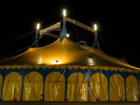 A picture of the Circus Tent at night