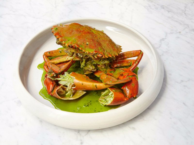 N.T. Mud Crab + Green Garlic + Tarragon