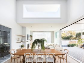 The light filled dining area with timber table