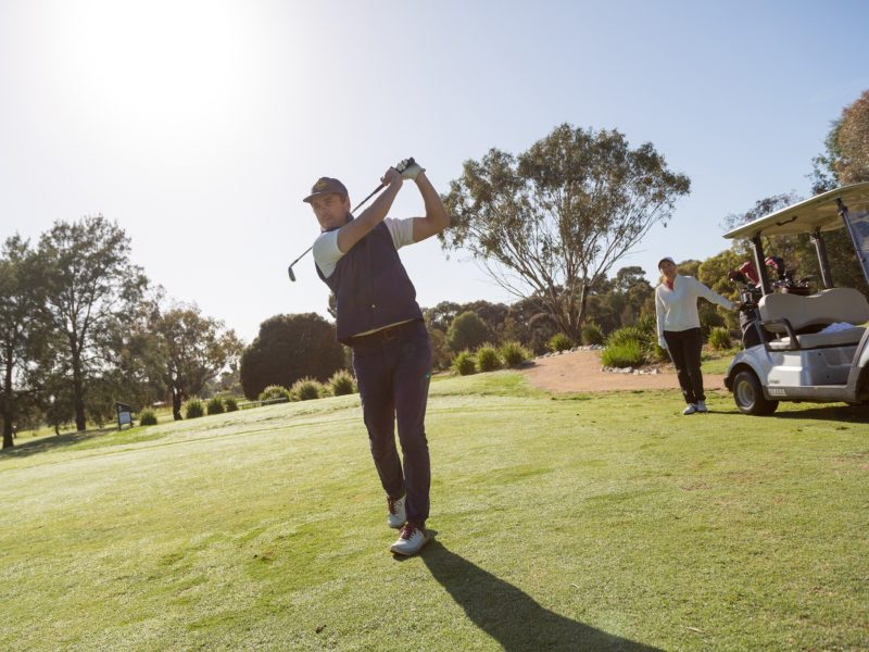 Two players on course at Cobram Barooga Golf Club