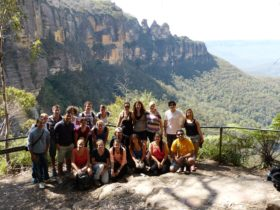 Group at lookout in Jamison Valley, Blue Mountains