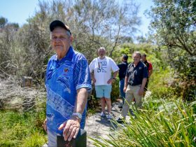 Fred Carriage takes a tour group for a walk along the Coomee Nulunga Cultural Track