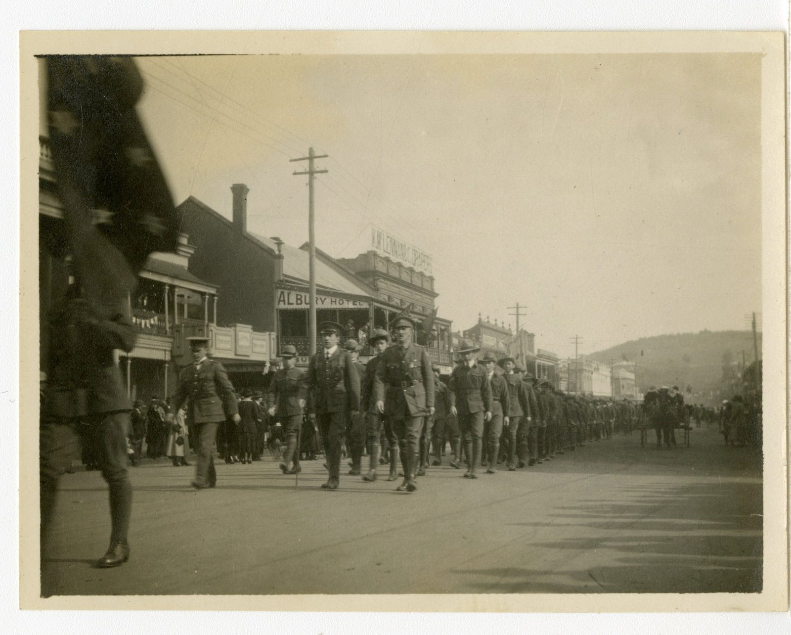 Troops marching down Dean Street Albury NSW during WW1