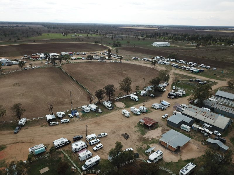 Muster Site showing the many caravans and motorhomes - Wee Waa CM Muster 2018