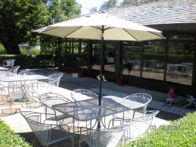 Outdoor seating at Cowra Japanese Garden Cafe