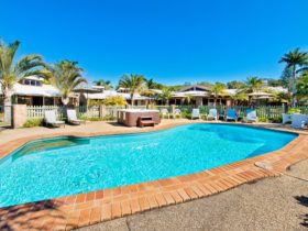 The lovely pool and spa are features of the Crescent Head Resort!