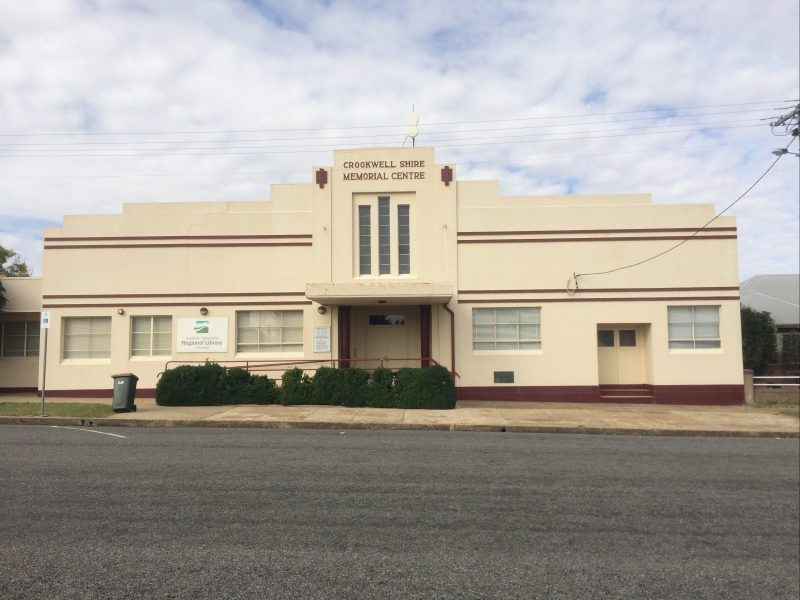 Crookwell Memorial Hall, home to the Crookwell District Art Gallery