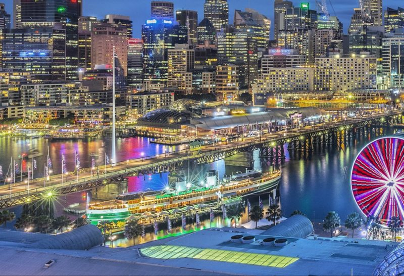 View of Darling Harbour and the Sydney CBD. Vivid Sydney 2015
