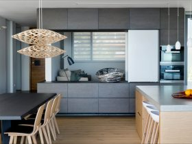 Modern dining area and open plan kitchen