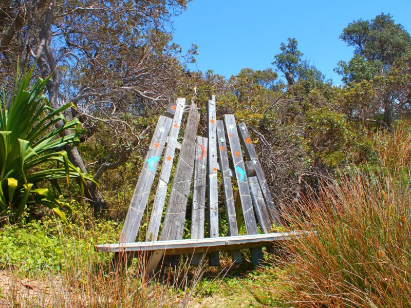 Their favourite bench in the world. Dedicated to Anita. Diggers Camp.