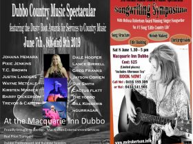 3 day country music festival and awards for services to country music . Slong writers symposium