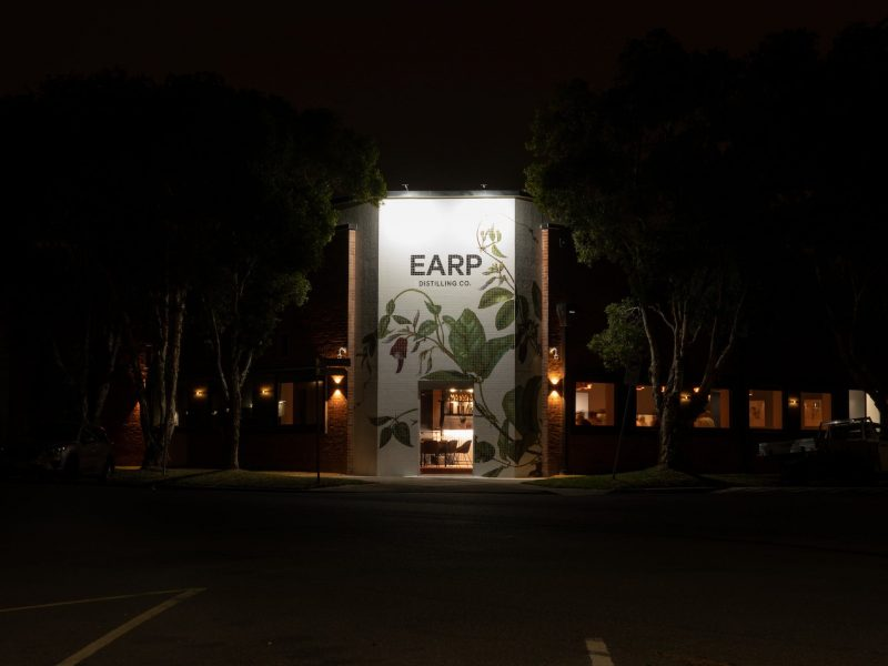 Earp Distilling Co. front building facade - stylish and modern bar and event space