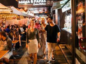 People dining at restaurants along Eat Street dining precinct in Parramatta