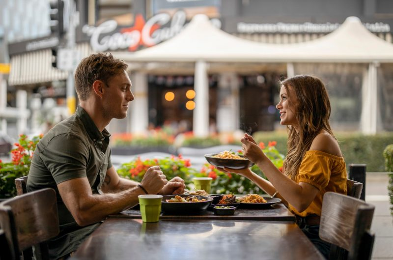 Couple enjoying food and drink at Thai La-Ong, Parramatta in Sydney's west