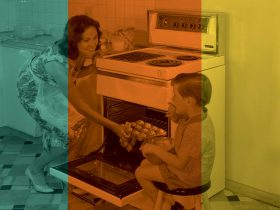 Woman in front of oven offering cookies to boy Retro tinted