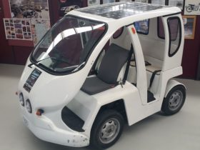 Electric solar and plug-in buggy. Used in the 2000, Sydney Olympics for officials and athletes.