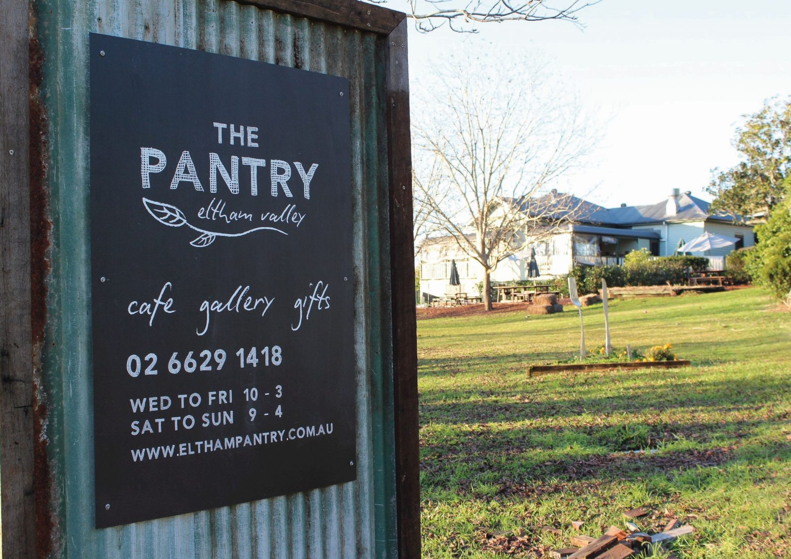 Sign at entry of Eltham Valley Pantry