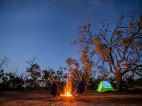 Campers stargazing by the fire at Emu Lake campground in Kinchega National Park. Photo: John Spencer