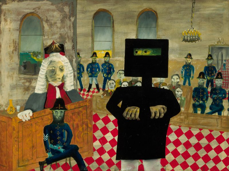 Ned Kelly faces the judge in a courtroom full of police in Sidney Nolan's vibrant painting