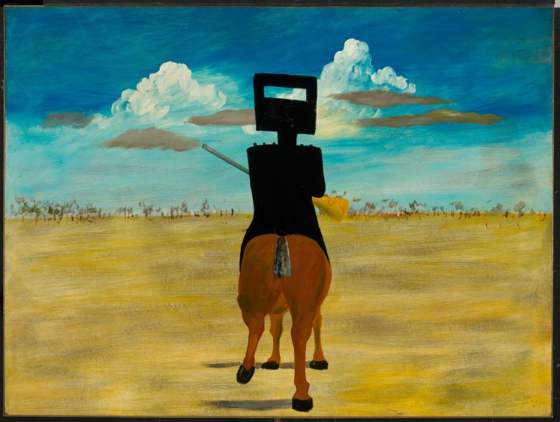 Sidney Nolan's iconic depiction of Ned Kelly on horseback heading towards horizon