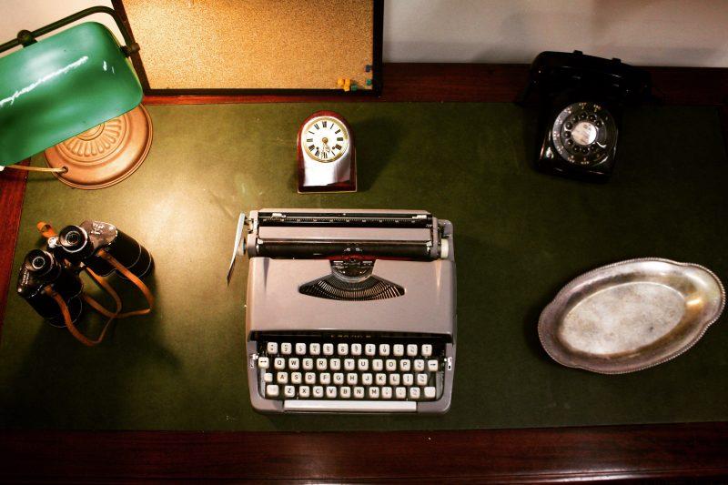 The detective's desk.