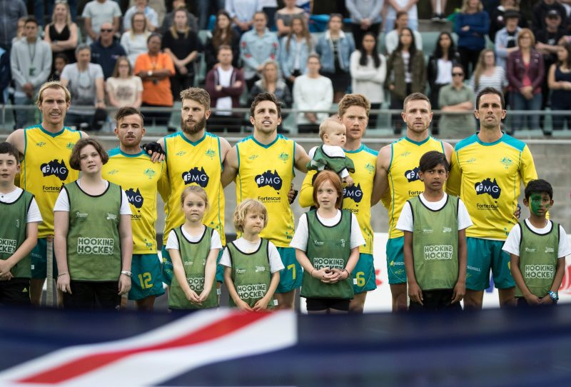 The Kookaburras sing the anthem prior to a match in Sydney
