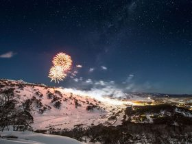 Noight Skiing and Fireworks
