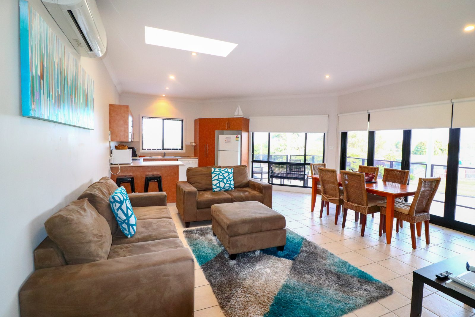 The open plan living area is located upstairs