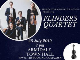 Flinders Quartet event card - 25 July 2019 7pm Armidale Town Hall