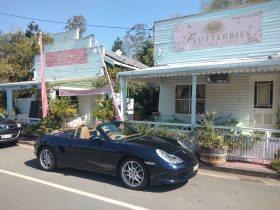 Vintage cars are a regular site at Flutterbies Cottage Cafe