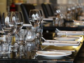 Close up photo of place settings at Fratelli Roma