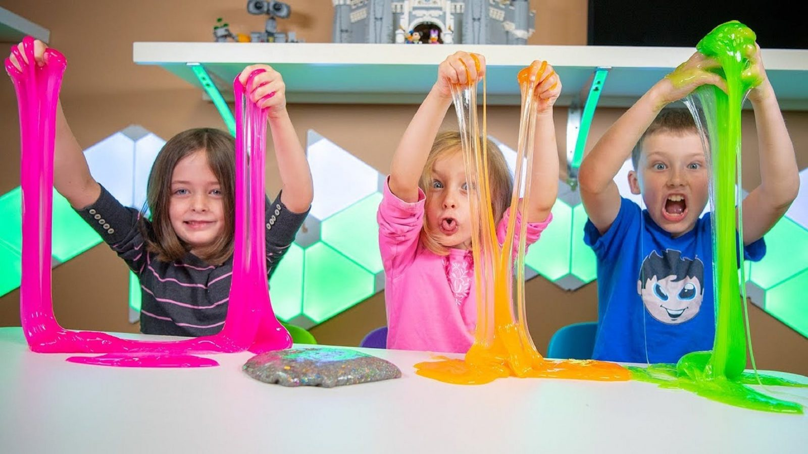 kids playing with slime