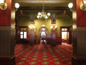 The entrance to the historic NSW Parliament Legislative Assembly foyer