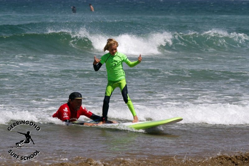 kids learn to surf, Seven Mile Beach Gerroa