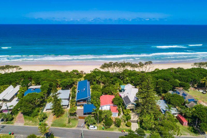 Gigis - Byron Bay - Aerial Towards Beach