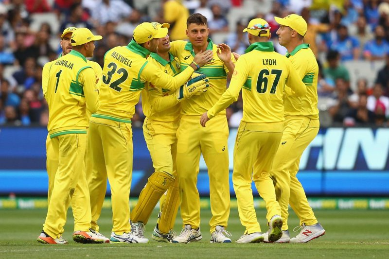 The Aussies celebrate a wicket