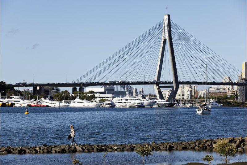 Views across Blackwattle Bay to the ANZAC Bridge, Glebe