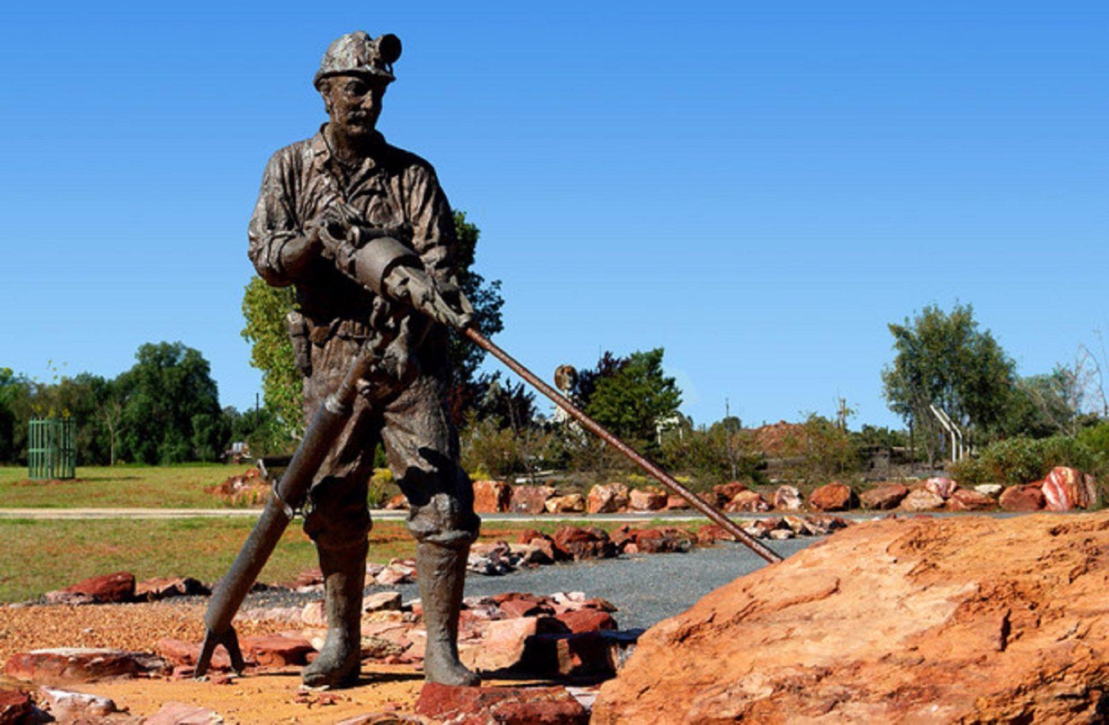A bronze sculpture of a miner, Cobar Miners Memorial, Cobar