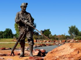 A bronze sculpture of a miner, Cobar Miners Memorial, Cobar